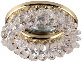 Точечный светильник Эра DK16 круглый с мелкими хрусталиками золото, прозрачный