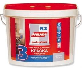 Краска латексная PARADE R3, 9л интерьерная профессиональная, белая матовая база А