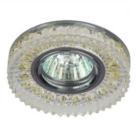 Светильник точечный Эра DK LD14 SL-WH cо светодиодной подсветкой MR16, прозрачный