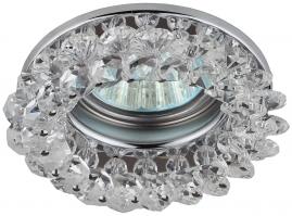 Точечный светильник Эра DK16 круглый с мелкими хрусталиками хром, прозрачный