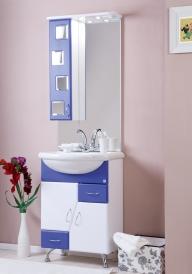 Зеркало ORIO Верона-65 сине-белое, шкаф справа, два светильника 5532-3