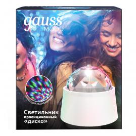 Светильник Gauss с фиксированной проекцией диско с кабелем и выключателем 3Вт белый