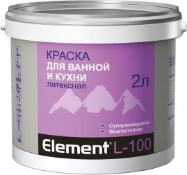 Краска Элемент L-100 для ванной и кухни, латексная 2л
