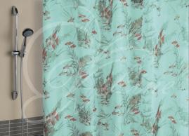 Шторка для ванной Vilina Рыбы зеленые 1436-1