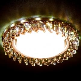 Светильник точечный Ambrella light G255 BR хром коричневый хрусталь GX53+3W LED WHITE