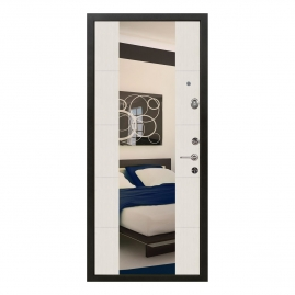 Дверь металлическая Меги 5736 Т1 зеркало сандал белый 2050x970мм правая