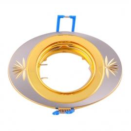 Точечный светильник Эра KL4A литой овал поворотный с гравировкой MR16, 12V, 50W сатин никель/золото