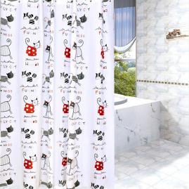 Штора для ванной комнаты Vanstore Peva Кошки 180х180см без колец 619-02