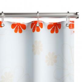 Штора для ванной комнаты Fora Цветочный дождь, оранжевая PH99