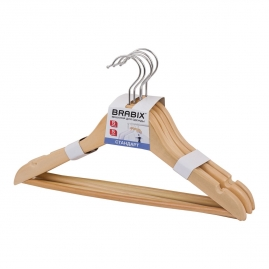 Набор вешалок деревянных BRABIX Стандарт  5шт., натуральный 36см 601160