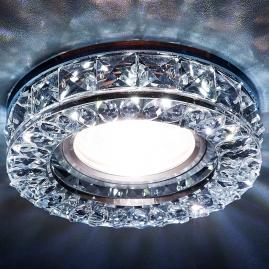 Светильник точечный Ambrella light S241 BK хром тонир хрусталь круг MR16+3W LED