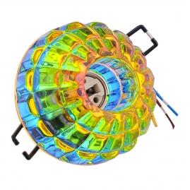 """Светильник Эра DK45 CH/MIX декор, хрустальный плафон """"квадраты"""" G9, 220V, 40W, хром/мультиколор"""