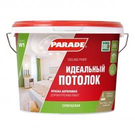 Краска акриловая Parade W1, Идеальный потолок, белая матовая 10л