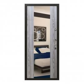 Дверь металлическая Меги 5736 Т1 зеркало ясень серый 2050x870мм правая