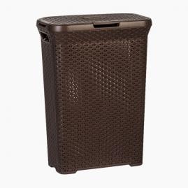 Корзина для белья плетенная Fimako Магнолия узкая с крышкой коричневая 55л 2301 К2649