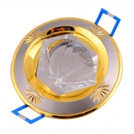 """Точечный светильник Эра KL25 SN/G литой """"острый кристалл"""" MR16, 12V, 50W сатин никель/золото"""