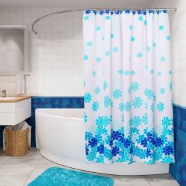 Штора для ванной комнаты Fora Цветочный дождь, голубая PH98