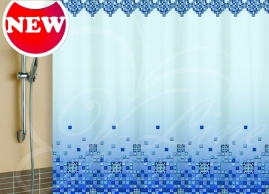 Шторка для ванной Vilina Мозайка голубая 1582-3