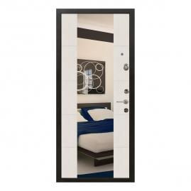 Дверь металлическая Меги 5736 Т1 зеркало сандал белый 2050x870мм правая