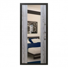Дверь металлическая Меги 5736 Т1 зеркало ясень серый 2050x970мм правая