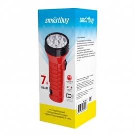 Фонарь Smartbuy аккумуляторный светодиодный 7LED с прямой зарядкой красный SBF-95-R