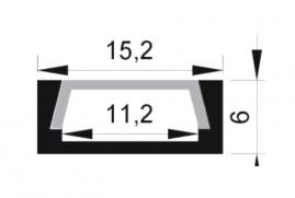 Профиль для светодиодной ленты накладной анодированный 2м PAL 1506