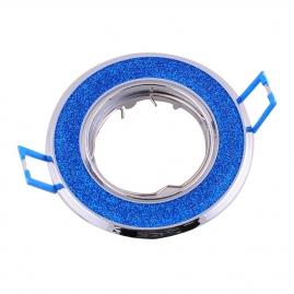"""Точечный светильник Эра Fashion DK18 """"круг со стеклянной крошкой"""" MR16, 12V, 50W, хром/синий блеск"""