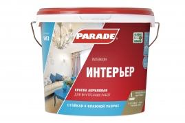 Краска акриловая PARADE W3, 5л для стен и потолков, влагостойкая, белая матовая