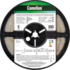 Лента светодиодная LED 3528 Camelion SL-3528-60-C01W 5 метров, 60LED, IP20, свет теплый белый