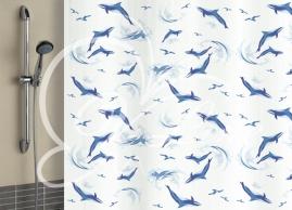 Шторка для ванной Vilina Дельфины голубые полиэстер 1800х1800мм