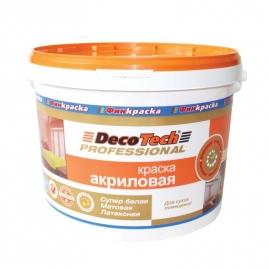 Краска ВД DecoTech акриловая для стен и потолков 9л