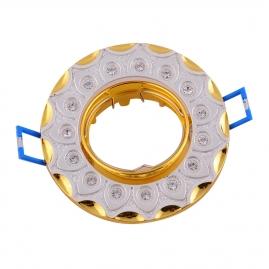 Точечный светильник Эра KL37А GD/SL литой поворотный cо стразами MR16, 12V, 50W золото/серебро