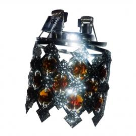 """Светильник АКЦЕНТ """"Crystal"""" 824 встраиваемый, хром янтарь, круглый с подвесками, MR16 GU5.3"""