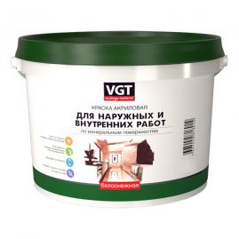 Краска ВГТ ВД АК-1180 белоснежная, моющая, для наружных/внутренних работ 3кг
