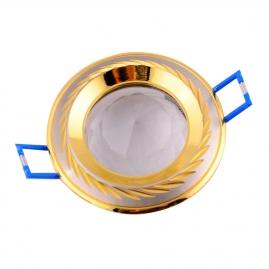"""Точечный светильник Эра KL10 """"с гравировкой по контуру+ хрусталь"""" MR16, 12V, 50W сатин никель/золо"""
