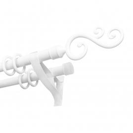 Карниз круглопалочный DIY СВЭН 22мм, 2 ряда 1,6м металл белый с наконечниками