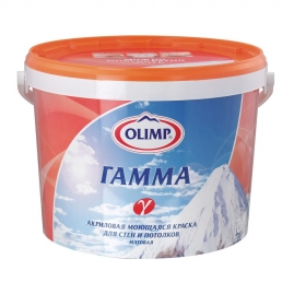 """Краска ОЛИМП """"Гамма"""" акриловая, моющая, для внутренних работ, матовая 10л"""
