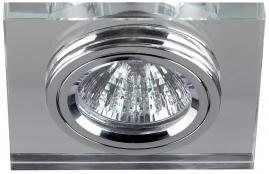 Точечный светильник Эра DK8 стекло, квадрат MR16,12В-220В, 50Вт хром, зеркальный
