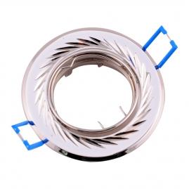Точечный светильник Эра KL6A поворотный с гравировкой по кругу MR16, 12V перламутр серебро/никель