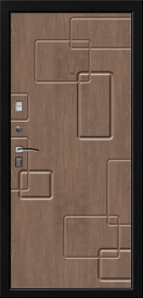 Дверь металлическая VALBERG С4 КАМЕЛОТ черный муар/орех темный 2066x980мм левая